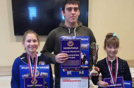 Najbolji sportisti AK Takovo; Dositej, Nikolina i Marina