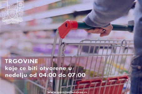 Prodavnice koje će biti otvorene u nedelju  od 04-07 sati