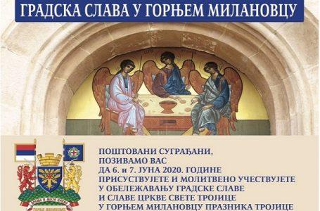 Opština Gornji Milanovac i Crkva Svete Trojice obeležiće gradsku slavu