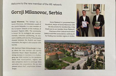 "Gornji Milanovac član ""Instituta za regione Evrope"""